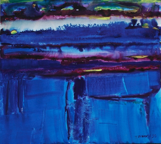 gouache abstract landscape painting